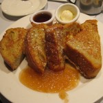 Apple-Cinnamon French toast with side of bananas, $15.50