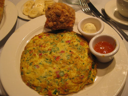 Garden Omelette with muffin, $14
