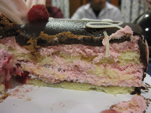 Raspberry cream and vanilla cake layers