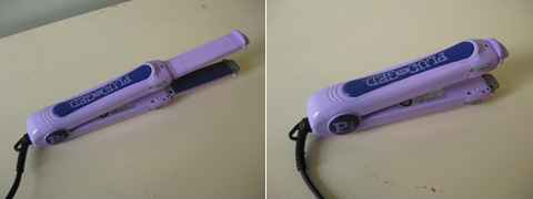 The Plugged In flat iron I used -- plates can be hidden inside for travel