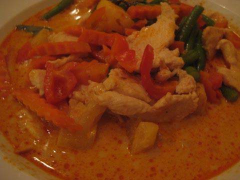 Panang curry with white rice, $12.95