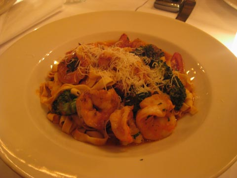 Fresh Fettuccini: grilled shrimp, broccoli, fried garlic, spicy plum tomato sauce, $18