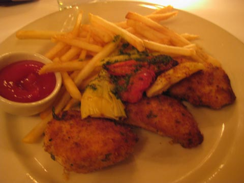 Parmesan Crusted Chicken Breast: topped with roasted tomatoes and artichokes, $19