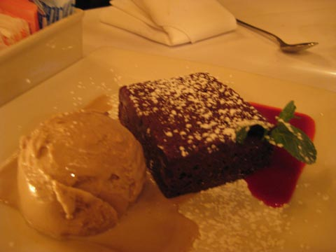 Chocolate Brownie Cake french dark chocolate, raspberry sauce with nocciola gelato, $8