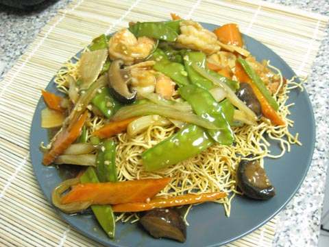 Pan fried noodle with shrimp, $8.50
