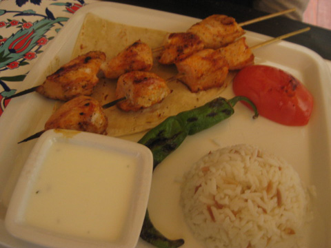 Chicken Kebaab platter with white sauce and rice, $12.95