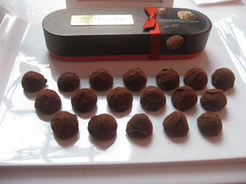 The original dark chocolate truffle rolled in cocoa powder