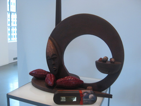 A handmade chocolate G for Godiva made by the executive chef