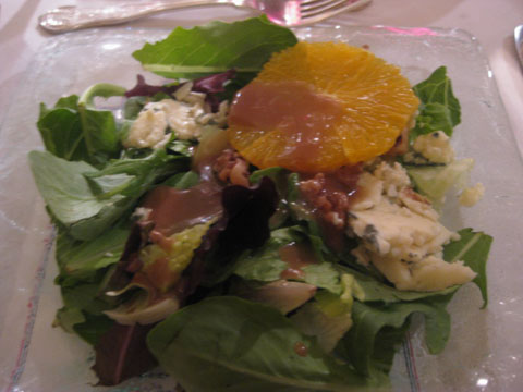 Mixed Leaf Salad with Blue Cheese, Walnuts, Orange, and Balsamic