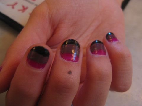 sabeen's nail art: magenta, brown, and black stripes. I LOVE this.