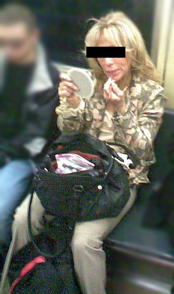 Makeup on the subway (note: web image, not the actual perpetrator I saw!)