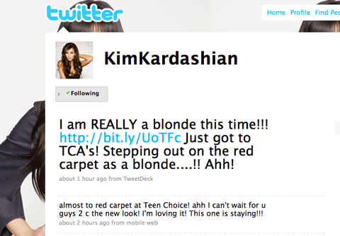 Kim announces her shift to blonde
