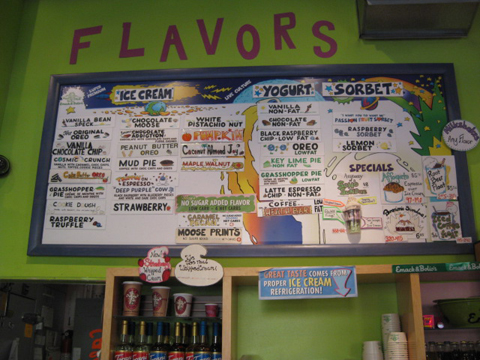 Ice cream menu at Emack & Bolio's