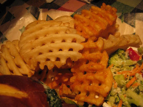 side of seasoned Haus waffle fries