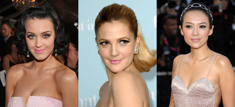 R-L: Katy Perry, Drew Barrymore, Zhang Ziyi