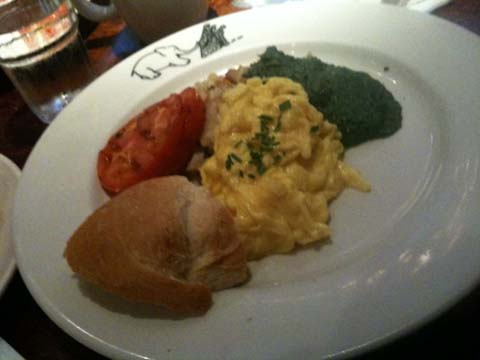 Yukon Brunch with Country Eggs, Spinach Puree, Hash Browns and Grilled Tomatoes, $12