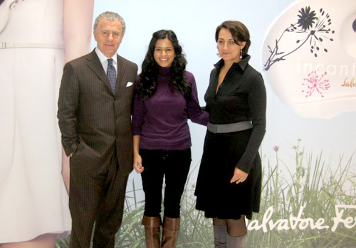 Me with Luciano Bertinelli, CEO of Ferragamo Parfums and Sophie Labbe, creator of Incanto Bloom from IFF.