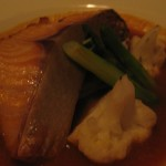 Red Pond II, Oven roasted black cod in a chili tomato sauce, $38