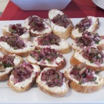 Cheese spread and chopped grapes