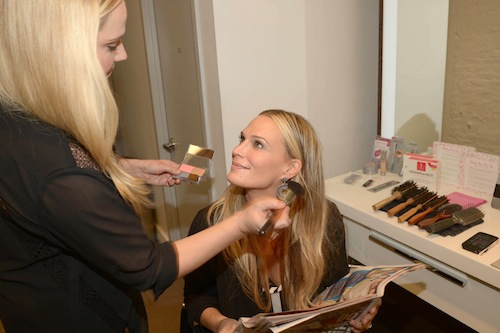 Neutrogena makeup artist, Amy Oresman, giving Sims a touch up!