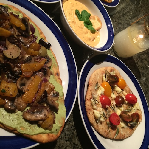 Veggie flatbreads and dips!