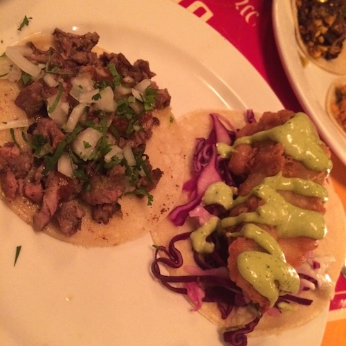 Beef and fish tacos