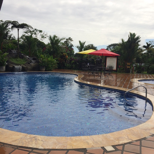 Outdoor pools at the Volcano Lodge