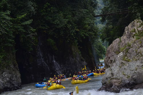 One of my favorite parts of the experience -- rafting in this serene space between canyons
