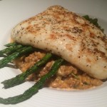 Hearth-Roasted Halibut on asparagus, butternut squash farro, and baby kale